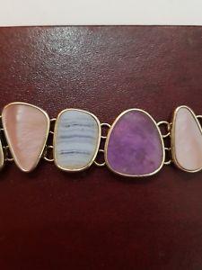 【送料無料】ブレスレット アクセサリ― スターリングシルバーブレスレットqvc beautiful 925 sterling silver purple agate amp; aventurine bracelet