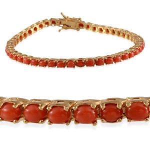 【送料無料】ブレスレット アクセサリ― シルバーブレスレットサンゴ listingtennis 14ct gold plated silver bracelet for women with coral 8 in