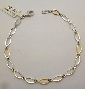 【送料無料】ブレスレット アクセサリ― ゴールドリンクブレスレット9ct gold on silver oval linked bracelet with textured design and a width of 5 mm