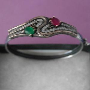 【送料無料】ブレスレット アクセサリ― シルバーブレスレットエメラルドルビートパーズワイドグラム925 silver bracelet with emerald ruby and topaz gems 65 x 6 cm wide 84 gr