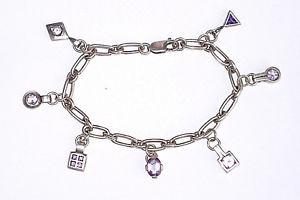 【送料無料】ブレスレット アクセサリ― スターリングシルバーアメジストブレスレットsterling silver 925 amethyst gemstone charm bracelet hallmarked 195g