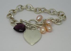 【送料無料】ブレスレット アクセサリ― インチバーブレスレット*lovely sterling silver 75 long heart tbar gemstone bracelet295g*