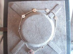 【送料無料】ブレスレット アクセサリ― フラワーブレスレットローズゴールドスターリングシルバー¥clogau flower bracelet rose gold sterling silver 19cm rrp 110