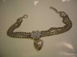 送料無料 ブレスレット アクセサリ― ?ソリッドシルバーハートブレスレットc1900stunning solid silver sweetheart braceletincredible rare beautifulCxBtshQrod