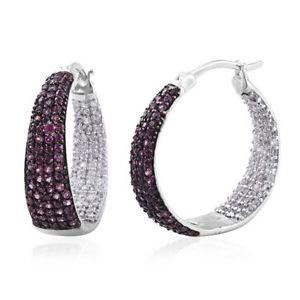 【送料無料】ブレスレット アクセサリ― フーププラチナガーネットジルコンイヤリングhoop platinum plated silver earrings with rhodolite garnet, zircon