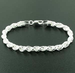 【送料無料】ブレスレット アクセサリ― イタリアスターリングシルバーロープブレスレットインチ6mm italian sterling silver rope bracelet 75 inch