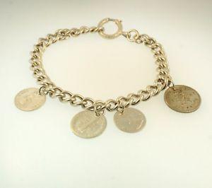 【送料無料】ブレスレット アクセサリ― ブレスレットコインsterling silver 875 rounded curb bracelet w coin charm 7mm wide