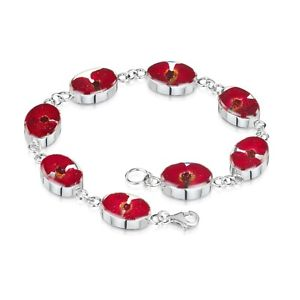 【送料無料】ブレスレット アクセサリ― ケシブレスレットシルバーブレスレットブレスレットbracelets for women poppy flowers red bracelets 925 silver bracelets