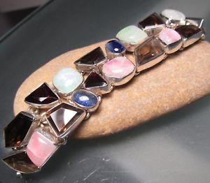 【送料無料】ブレスレット アクセサリ― スターリングシルバームーンストーンカイアナイトブレスレットグラム925 sterling silver moonstonequartzkyanite double row bracelet 47gr