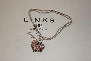 【送料無料】ブレスレット アクセサリ― ロンドンキャッチャーハートブレスレットリンクgenuine links of london 925 silver dream catcher 18kt rgv heart bracelet 19 cm