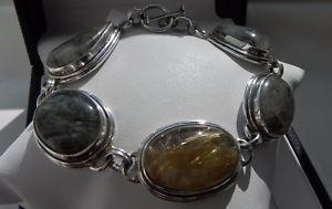 【送料無料】ブレスレット アクセサリ― ソリッドシルバーグリーンイエロールチルブレスレットstriking, heavy 48g solid silver greenyellow rutilated quartz toggle bracelet