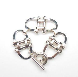 【送料無料】ブレスレット アクセサリ― スターリングシルバーヘビーリンクブレスレットバーmodern 925 sterling silver heavy unusual link bracelet t bar fastening 512g 7
