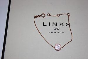 【送料無料】ブレスレット アクセサリ― ロンドンローズゴールドラウンドホワイトトパーズブレスレットリンクgenuine links of london rose gold vermeil pure 2 round white topaz bracelet