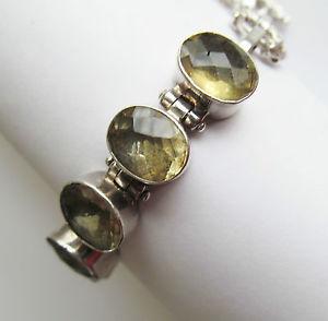【送料無料】ブレスレット アクセサリ― ソリッドスターリングシルバーシトリンブレスレットsolid sterling silver citrine gemstone bracelet
