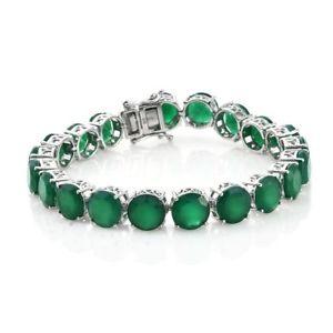 【送料無料】ブレスレット アクセサリ― テニスプラチナシルバーブレスレットヴェルデオニキスtennis platinum plated silver bracelet for women with verde onyx 75 in