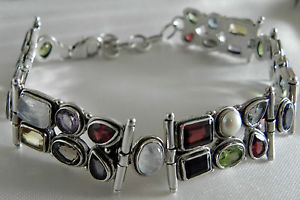 【送料無料】ブレスレット アクセサリ― カラフルgスターリングシルバーマルチヒンジブレスレットwonderfully colourful 34g sterling silver 925 multi gemstone hinged bracelet