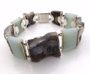 【送料無料】ブレスレット アクセサリ― スターリングシルバーブレスレットインチ listingnatural organic drusy amp; white quartz sterling silver bracelet 8 inch uk hallmark
