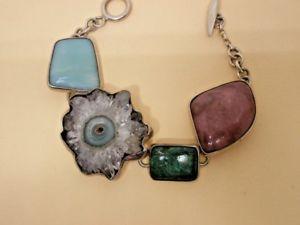【送料無料】ブレスレット アクセサリ― シルバーブレスレットstunning silver statement geode crystal bracelet
