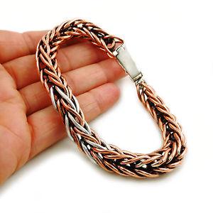 【送料無料】ブレスレット アクセサリ― シルバーロングロープチェーンブレスレットheavy solid copper and 925 silver long rope chain bracelet