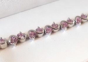 【送料無料】ブレスレット アクセサリ― ホワイトゴールドピンクデザインラウンドテニスブレスレットカットwhite gold finish pink gemstone twist design round cut tennis bracelet
