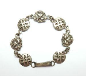 【送料無料】ブレスレット アクセサリ― ビンテージスターリングシルバーセルティックライオンリンクブレスレットvintage sterling silver 925 celtic lion link bracelet 226g 75