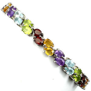 【送料無料】ブレスレット アクセサリ― スターリングシルバーテニスブレスレットインチsterling silver 925 genuine rainbow gemstone two row tennis bracelet 7 inch