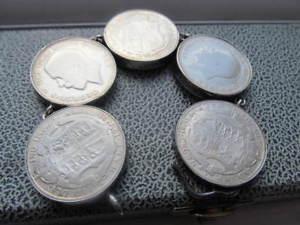 【送料無料】ブレスレット アクセサリ― コインブレスレットsilver coin bracelet