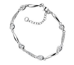 【送料無料】ブレスレット アクセサリ― スターリングシルバーファッションリンクティアドロップクリアブレスレット925 sterling silver women fashion clear cz linked teardrop bracelet
