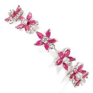 【送料無料】ブレスレット アクセサリ― スターリングシルバーピンクルビーブレスレットインチsterling silver 925 genuine natural pink ruby floral delicate bracelet 7 inches