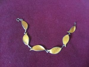 【送料無料】ブレスレット アクセサリ― デビッドアンダーセンエナメルブレスレットdavid andersen silver and enamel yellow leaves bracelet circa mid 20th century