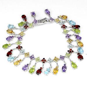 【送料無料】ブレスレット アクセサリ― スターリングシルバーブレスレットインチsterling silver 925 genuine natural mixed gemstone dangle bracelet 75 inches