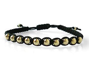 【送料無料】ブレスレット アクセサリ― レディースメンズゴールドビードマクラメブレスレットladies mens 9ct gold 5mm bead macrame bracelet