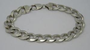【送料無料】ブレスレット アクセサリ― ソリッドスターリングシルバーリンクロングブレスレットグラム***solid sterling silver curb link 10 long bracelet 581 grams***