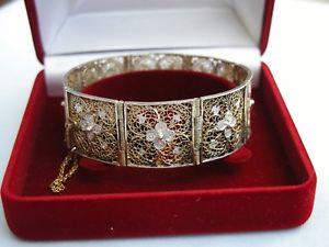 【送料無料】ブレスレット アクセサリ― コンチネンタルパネルブレスレットstunning old continental 800 grade silver gilt filigree flower panel bracelet