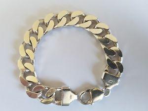 【送料無料】ブレスレット アクセサリ― スターリングシルバーブレスレットインチsterling silver 925 curb bracelet 52grms heavy 734 inches