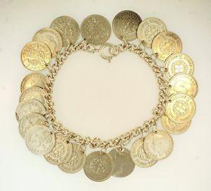 【送料無料】ブレスレット アクセサリ― ブレスレットミリペンスsterling silver 725 curb bracelet 4mm wide w three pence charms 16mm