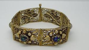 【送料無料】ブレスレット アクセサリ― ビンテージガラスブレスレットセット*unusual vintage middle eastern 800 silver filigree dicroic glass set bracelet*