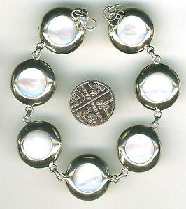 【送料無料】ブレスレット アクセサリ― ブレスレットスターリングパールディスクブレスレットシルバーbracelet 925 sterling silver mother of pearl round disc bracelet length 818