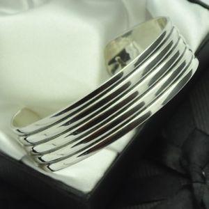 【送料無料】ブレスレット アクセサリ― ソリッドスターリングシルバービンテージリブデザインカフブレスレットheavy amp; solid 925 sterling silver vintage ribbed design cuff bracelet