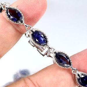 【送料無料】ブレスレット アクセサリ― スターリングシルバーアイオライトブレスレットインチsterling silver 925 genuine marquise blue violet iolite bracelet 65 inch