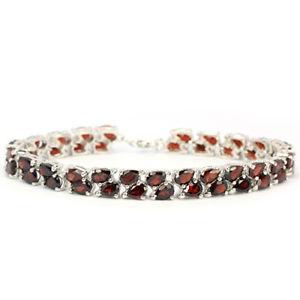 【送料無料】ブレスレット アクセサリ― スターリングシルバーガーネットブレスレットインチsterling silver 925 genuine natural deep red garnet 2 row bracelet 712 inch