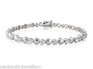 【送料無料】ブレスレット アクセサリ― スターリングシルバーハートテニスブレスレットレディースボックスsterling silver heart tennis bracelet ladies 75 hallmarked gift boxed