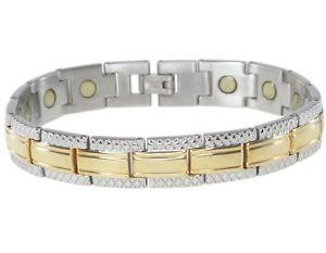 【送料無料】ブレスレット アクセサリ― インチステンレススチールブレスレットmen magnetic 85 inch gold plated stainless steel bracelet