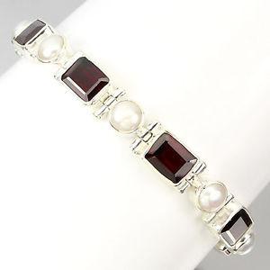 【送料無料】ブレスレット アクセサリ― スターリングシルバーオクタゴンガーネットパールブレスレットインチsterling silver 925 octagon genuine natural garnet amp; pearl bracelet 78 inches