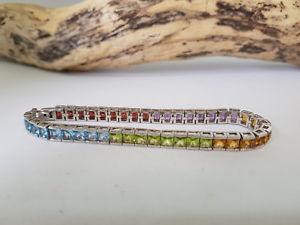 【セール】 【送料無料】ブレスレット アクセサリ― ソリッドシルバーブレスレットused 925 solid silver amp; mixed gems bracelet, オブセマチ 51f7fca7