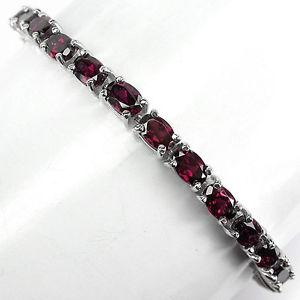 【送料無料】ブレスレット アクセサリ― スターリングシルバーラズベリーピンクブレスレットインチsterling silver 925 oval genuine deep raspberry pink rhodolite bracelet 7 inch