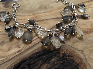 【送料無料】ブレスレット アクセサリ― スターリングシルバーブレスレットスモーキークォーツセーフbeautiful sterling silver bracelet smokey quartz qvc easy clasp amp; safe