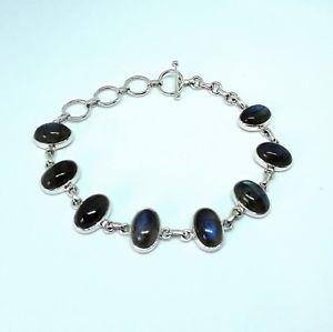 【送料無料】ブレスレット アクセサリ― シルバーブレスレットモダンデザイン silver labradorite bracelet plain oval stones modern design
