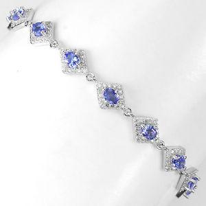 【送料無料】ブレスレット アクセサリ― スターリングシルバータンザナイトブレスレットインチsterling silver 925 genuine natural blue violet tanzanite bracelet 7875 inch