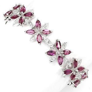 【送料無料】ブレスレット アクセサリ― スターリングシルバーブレスレットインチsterling silver 925 genuine natural rhodolite gemstone floral bracelet 75 inch